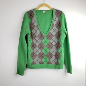 J. Crew Green and Grey Lambs Wool Argyle S…